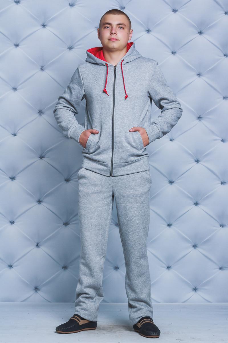 Спортивный мужской костюм с начесом светло-серый