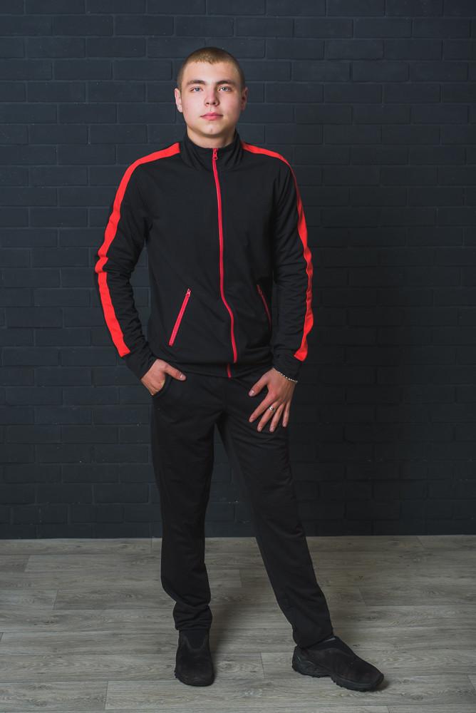 Спортивный мужской костюм черный+красный