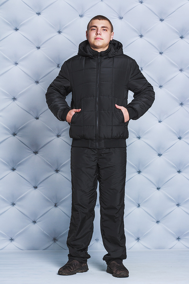 Костюм мужской с плащевки зимний черный